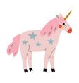 cute uncorn adorable pink fantasy animal vector image vector image