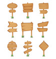 empty wooden round and square signpost standing in vector image vector image