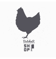 Farm bird silhouette Chicken meat Butcher shop vector image vector image