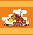 fast food chicken bacon and fried egg vector image vector image