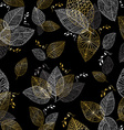 Gold hand drawn fall leaves seamless pattern vector image vector image