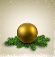 Golden ball on christmas eve branches vector image