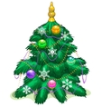 Green Christmas tree with balls and garlands vector image vector image