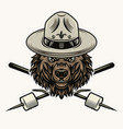 grizzly bear scout marshmallow on sticks vector image vector image