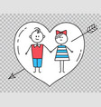 guygirl holding hands with heart pierced by arrow vector image vector image