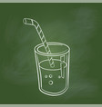 hand drawing glass of juice on green board vector image vector image