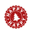 happy scratched stamp seal with fir-tree vector image
