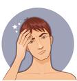 Ill boy complaints about headache vector image