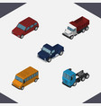 isometric automobile set of truck suv autobus vector image vector image