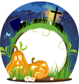 Jack o lanterns on a cemetery vector image vector image