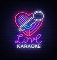 karaoke love logo in neon style neon sign bright vector image