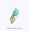 leaf music icon application template vector image