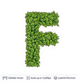 letter f symbol of green leaves vector image vector image