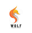 logo wolf gradient colorful style vector image vector image