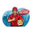 mailman thumb up while hlding the box vector image vector image