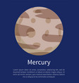 mercury with round craters vertical info poster vector image vector image