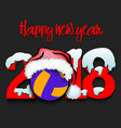 new year numbers 2018 and volleyball vector image