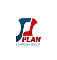 p letter icon for plan company group vector image
