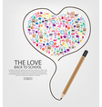 pencil draw heart template design with heart vector image vector image