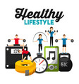 people sporty fitness weight scale barbell tape vector image