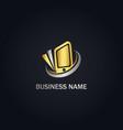 phone tab technology gold logo vector image vector image