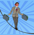 pop art businessman walking on the rope vector image vector image