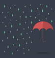 raindrop background with red umbrella vector image