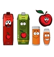 Red apple juice cartoon characters vector image vector image