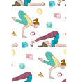 seamless background of woman doing asana vector image