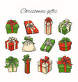 set christmas gifts vector image vector image