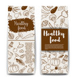set of healthy food banner templateshand drawn vector image