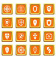 shields set icons set orange vector image vector image