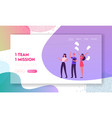 success teamwork group website landing page vector image vector image