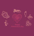 The icons on the food theme for design lovers vector image vector image