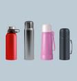 thermos realistic steel vacuum flask coffee mug vector image vector image