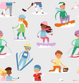 winter sport kids games cute cartoon vector image