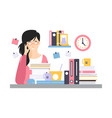 young tired businesswoman character sitting at the vector image vector image
