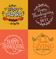 Happy Thanksgiving Day logotype badge and icon set vector image