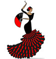 abstract flamenro girl in black and red vector image vector image