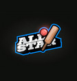 all star modern professional typography cricket vector image vector image
