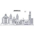 asheville united states outline travel skyline vector image vector image