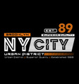 athletic ny city brooklyn typography design vector image vector image