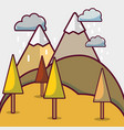 autumn season with pine tree and mountains vector image