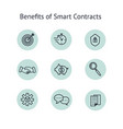 benefits smart contract icons set collection vector image
