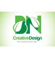bn green leaf letter design logo eco bio leaf vector image vector image
