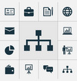 business icons set with whiteboard briefcase vector image vector image
