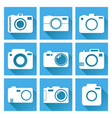 camera icon set on blue background with long vector image vector image