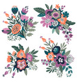 collection colorful natural floral vector image