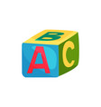 colorful cube with letters toy for children s vector image