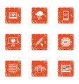 data point icons set grunge style vector image vector image